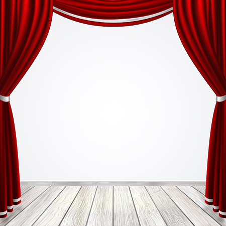 Empty stage with red curtains drapes and light wooden floor, vector illustration