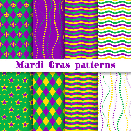 Mardi gras vector different seamless pattern: argyle, chevron, beading, stars, wavy background; white, yellow, green, purple, violet colors. Pattern swatches included in the Swatches panel Ilustrace