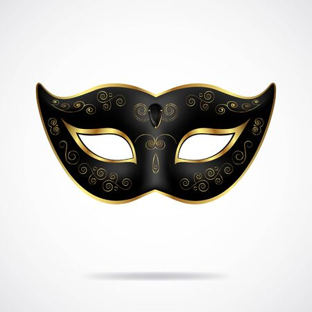 Black carnival mask with gold ornament isolated on white Ilustrace