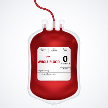 Sac de sang isolé sur blanc, jour du don de sang, illustration vectorielle Vecteurs