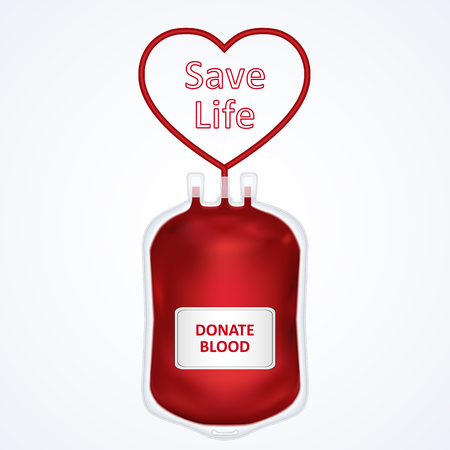 Donate blood concept with Blood Bag and heart isolated on white