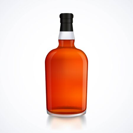 Glass bottle of alcohol drink, whiskey, bourbon, liquor, brandy, cognac with reflection, isolated on white background, stock vector graphic illustration