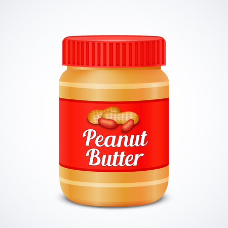 Jar of peanut butter isolated on white ,vector illustration