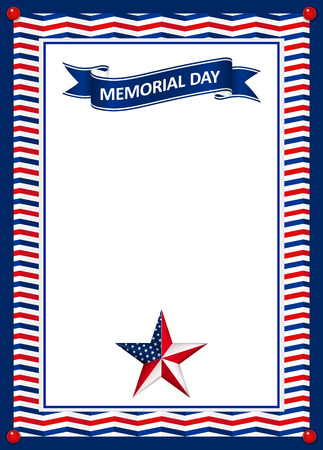 Memorial Day card with star in national flag colors,vector illustration