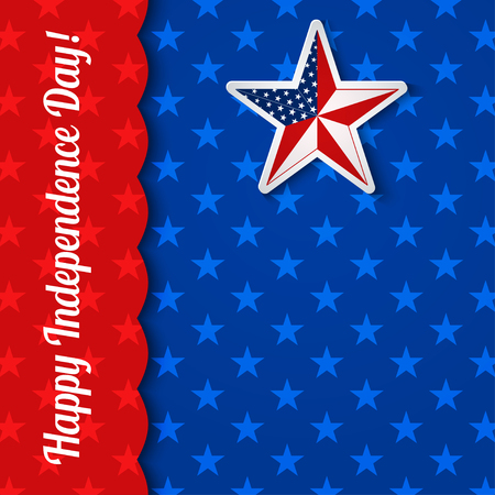 Independence Day card with star in national flag colors, vector illustration
