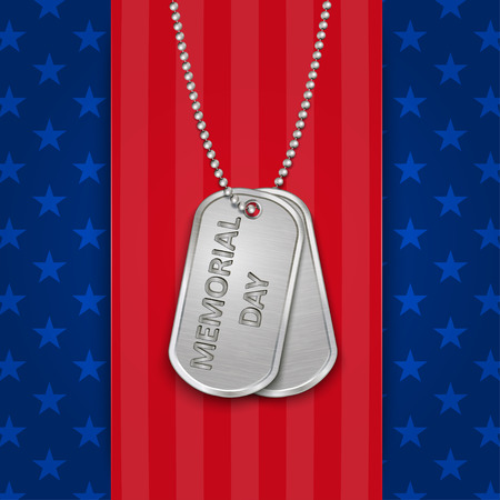 Memorial Day card with military dog tags,vector illustration