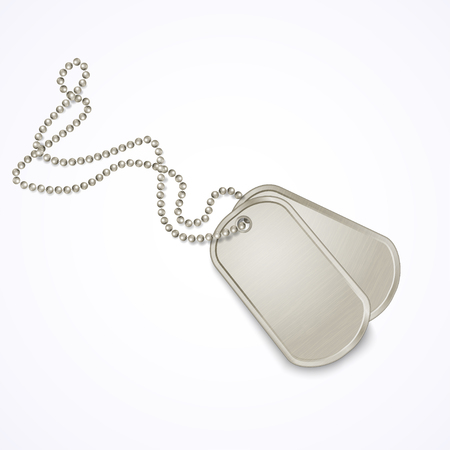 Military dog tags isolated on white, vector illustration
