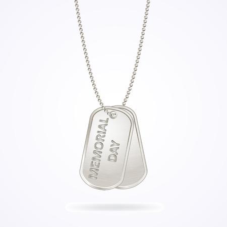Dog tags militaires isolés sur blanc, jour du souvenir, illustration vectorielle