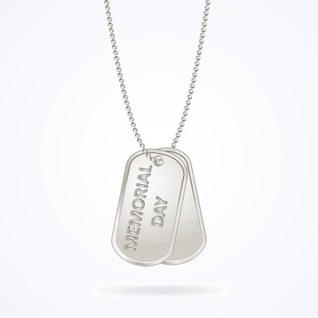 Military dog tags isolated on white, memorial day, vector illustration