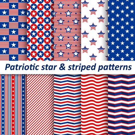 Patrones de estrellas y rayas sin costura, ilustración vectorial Ilustración de vector