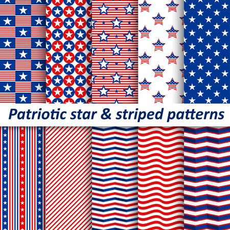 Seamless star & striped patterns, vector illustration