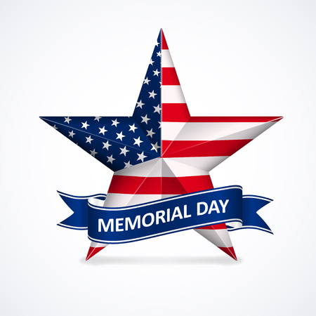 Memorial Day with star in national flag colors, vector illustration