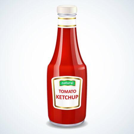 Bottiglia di ketchup isolato su bianco, illustrazione vettoriale