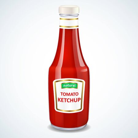 Ketchup bottle isolated on white, vector illustration