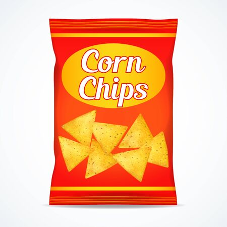 Corn chips packet bag, isolated on white background, vector illustration