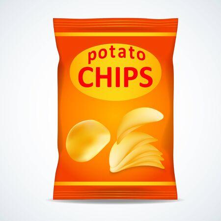 Potato chips bag isolated on white, vector illustration Ilustrace