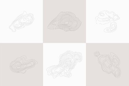 Set of topographic design elements, circular geographic grid map