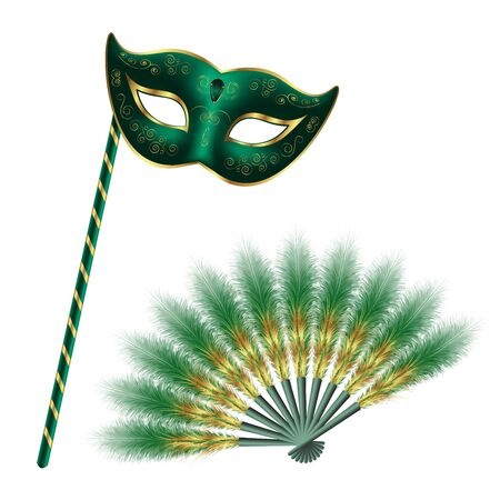 Green carnival venetian mask, masquerade feather fan with gold ornament, isolated on white background