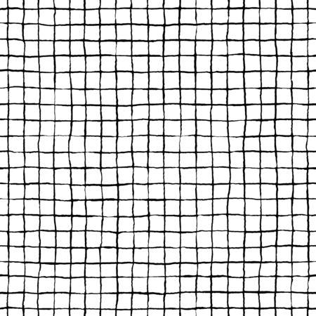 Dibujado a mano de patrones sin fisuras a cuadros, adorno interminable rayado desordenado. Ilustración vectorial de stock. Ilustración de vector