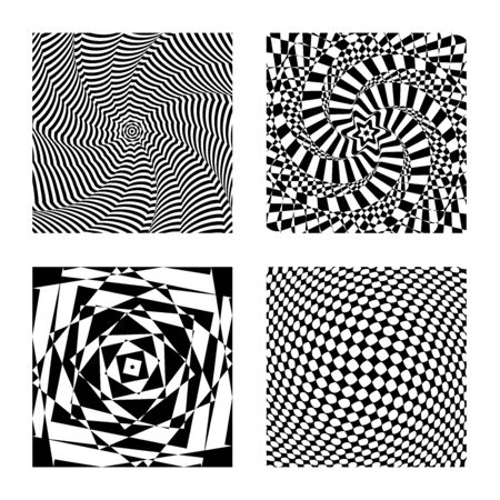 Optical illusion vector, op graphic art, hypnotic card, black and white geometric pattern.