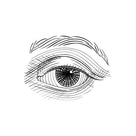 Vintage engraved eye, hand drawn sketch illustration, isolated on white background Ilustrace