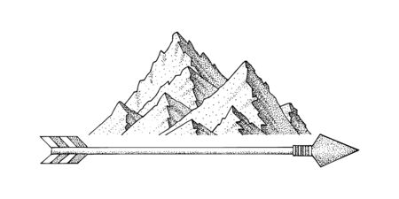 Hand drawn ink sketch mountain, minimalist dots style mountain travel, vector illustration