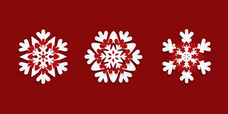 2020 Chinese New Year, Christmas set of 3 paper cut snow flake, snowflakes isolated on red background Ilustrace