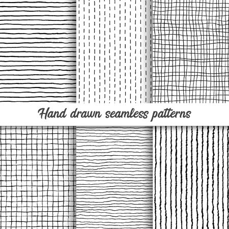 Set of vector hand drawn checkered seamless pattern, messy striped endless ornament.
