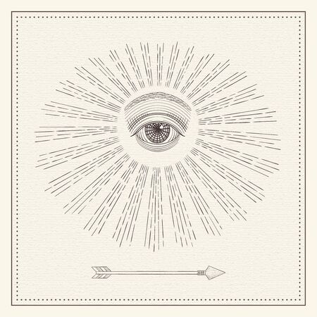 Vector all-seeing eye, eye in the sky with light ray, symbol of the Masons, Illuminati, monochrome hand drawn sketch Vector Illustration