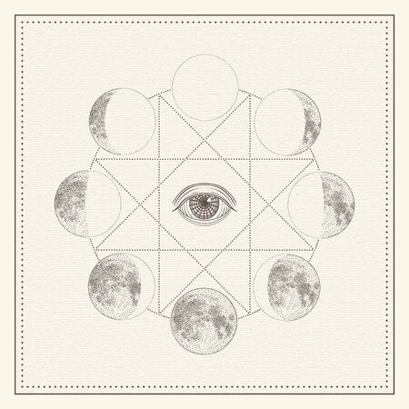 Phases of the moon with all-seeing eye and sacred geometry. Monochrome hand drawn illustration
