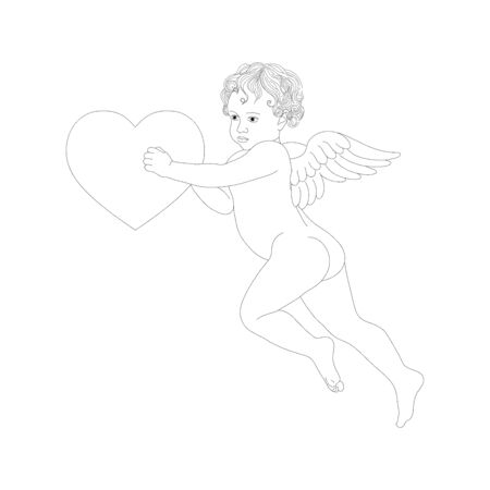 Vector angel with wings holding heart. Cupid with contour lines Ilustrace