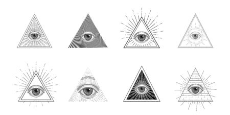 All seeing eye, freemason symbol in triangle with light ray, tattoo design Ilustrace