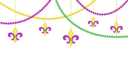 Mardy gras border with beads isolated on white background