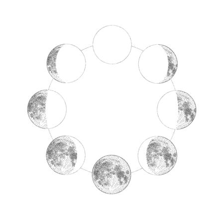 Phases of the moon, monochrome hand drawn vector illustration Ilustrace
