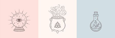 Witch and magic symbols with crystal ball, magic crystal bottle, cauldron. Monochrome vector illustration, isolated on white background