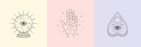 Types of Divination: palmistry, crystal ball, planchette. Witch and magic symbols, monochrome vector illustration, isolated on white background