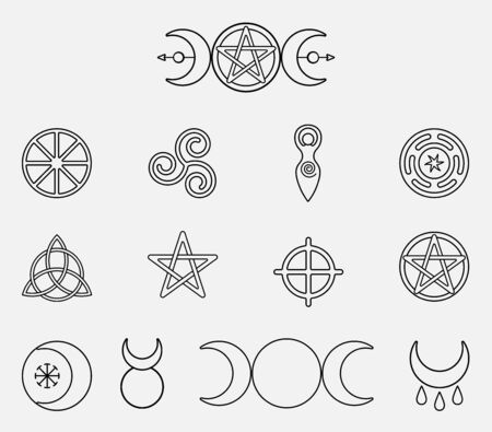 Collection of magical wiccan and pagan symbols: pentagram, triple moon, horned god, triskelion, solar cross, spiral, wheel of the year. Monochrome vector illustration, isolated on white background Иллюстрация