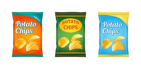 Potato chips packaging, stock vector illustration isolated on white background