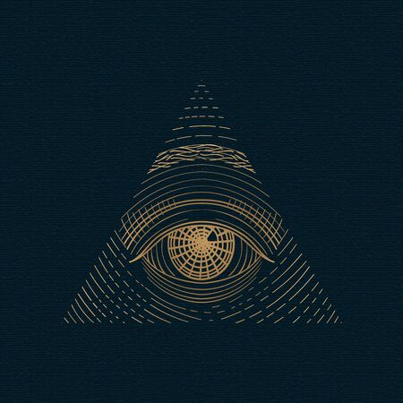 All seeing eye vector, illuminati symbol in triangle with light ray, tattoo design isolated on white background Ilustrace