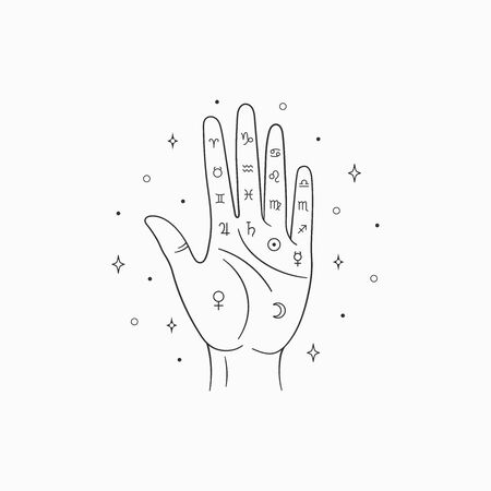 Palmistry vector. Witch and magic symbol, monochrome palmistry illustration, isolated on white background Ilustrace