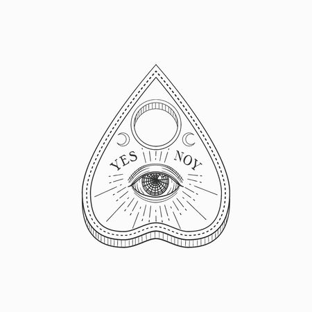 Ouija planchette with eye of providence. Witch and magic symbol, monochrome vector illustration, isolated on white background