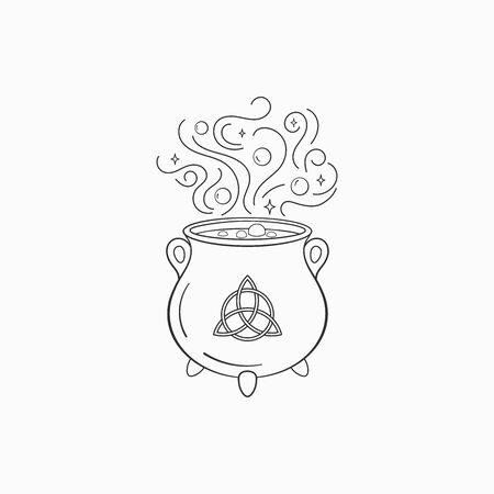 Witch cauldron with bubbling liquid. Magic symbol cauldron , monochrome vector illustration, isolated on white background