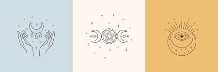 Mystic boho logo, design elements with moon, hands, star, eye. Vector magic symbols isolated on white background Иллюстрация