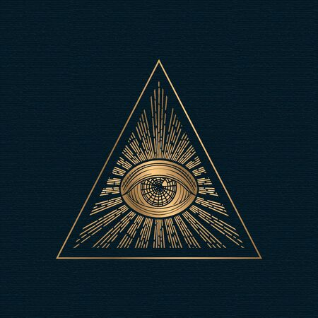 All seeing eye vector, illuminati symbol in triangle with light ray, tattoo design isolated on white background Иллюстрация