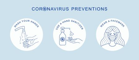 Coronavirus COVID-19 preventions tips, hand sanitizer, wear face mask, washing hands. Corona virus vector isolated on white background Иллюстрация