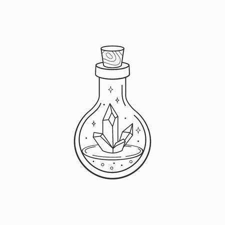Magic crystal bottle. Witch and magic symbol, monochrome vector illustration, isolated on white background