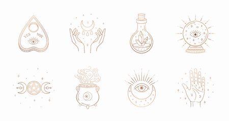 Mystic boho logo, design elements with moon, hands, star, eye, crystal bottle, ball future. Vector magic symbols isolated on white background Иллюстрация