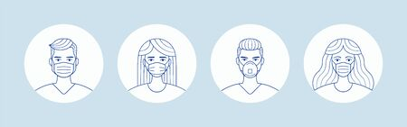 Male and female in medical face protection mask. People avatars.