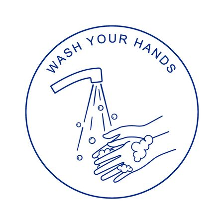 Washing hands with soap. Coronavirus preventions tips. Иллюстрация