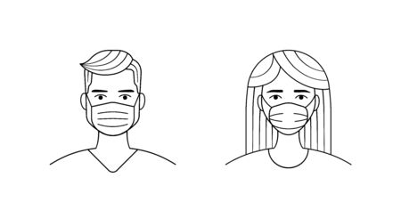 Male and female wearing medical face protection mask. Man and women user portraits, people avatars in medical face mask